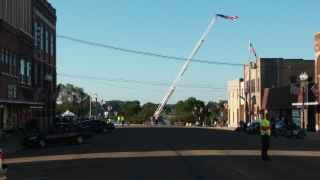 Downtown Albert Lea, MN. Nearly the whole town turned out, and many local dignitaries. This is just before the riders came in...