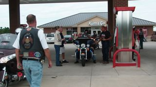 Riders fuel and get a payment amount. Riders fill own tanks.