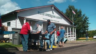 Boyd, WI Legion hall. These guys were heroes- first non pulled-pork meal in a week!