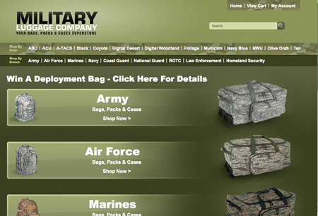 screen cap militaryluggage.com