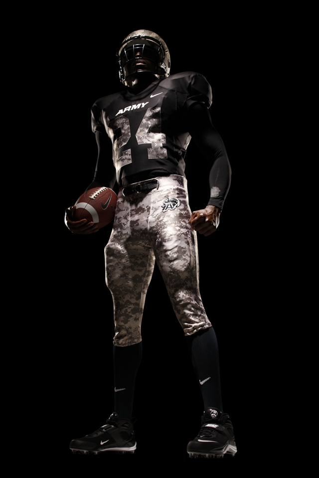 incorporated camo patterns into the Army's football uniform. The Naval ...