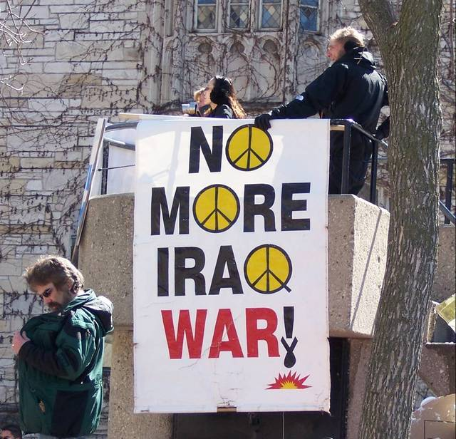 Anti Iraq war demonstrators in Madison, USA